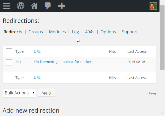 WordPress Redirect Plugin - Admin Page