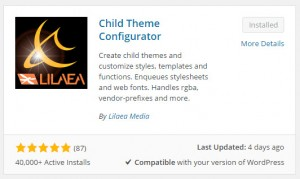 Child Theme Configurator Plugin