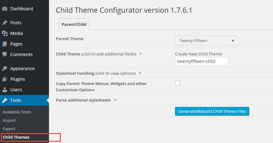 Child Theme Configurator Admin Page