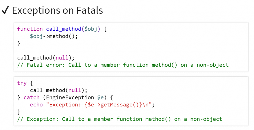 PHP7 - Fatal Exception